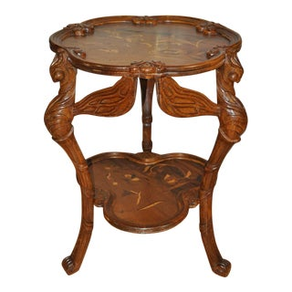 Galle Style Art Nouveau Style Carved Dragonfly Table With Floral Marquetry Artwork For Sale