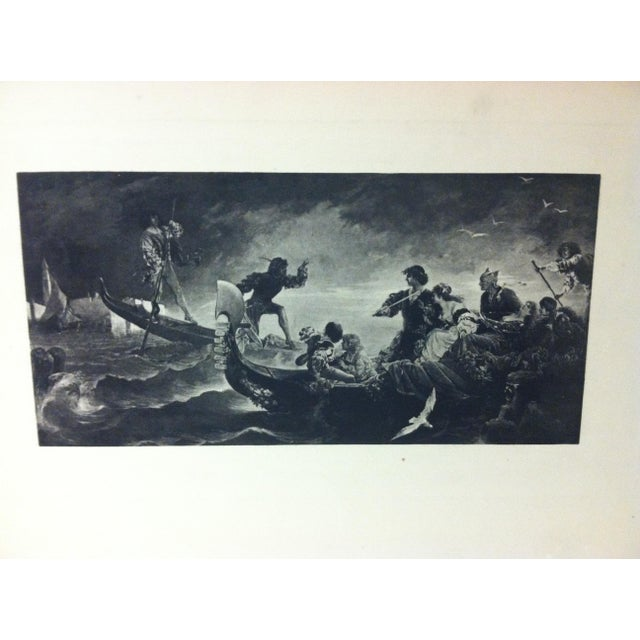 "This is a antique print on paper that is titled ""On The Water"" - The Artist is Unknown. The print dates from around 1900..."