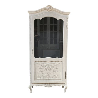 Painted French Provincial Style Display Cabinet For Sale