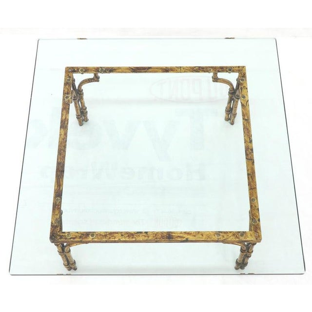 Faux Bamboo Gold Gilt Frame Square Glass Top Coffee Table For Sale - Image 11 of 12