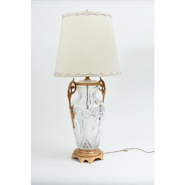 Bronze-mounted with cut crystal pair task / table lamps. Each lamp is in excellent antique working condition. No special...