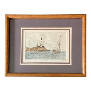 """Vintage """"Pigeon Point"""" by Keith Lee Signed Seascape Print For Sale"""