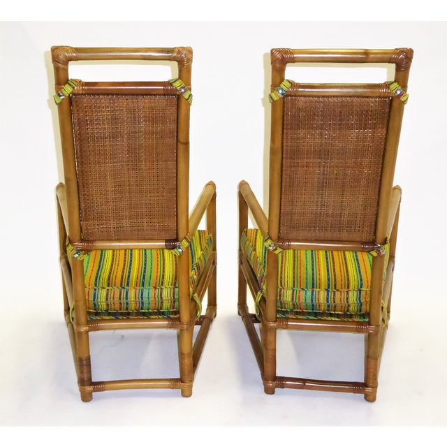 Pair of Tommi Parzinger High Back Rattan Armchairs for Willow & Reed Pavillion Collection, 1950s For Sale In Miami - Image 6 of 13