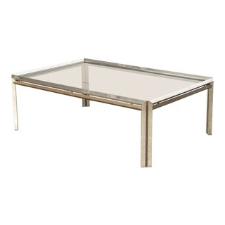 Mid Century Milo Baughman Style Chrome, Brass and Glass Coffee Table For Sale