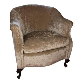Antique Crushed Gold Velvet Chair For Sale
