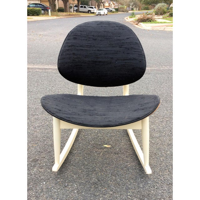 """Vintage mid-century """"Oyster"""" rocker designed by Seymour Wiener for Kodawood. This was part of the Miami company's..."""
