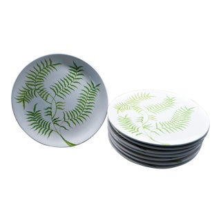 1950s Ernestine Salerno Italy Modern Hand Painted Fern Pattern Dinner Serving Plates - Set of 8 For Sale