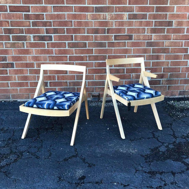 Blue Minimalist Modern Custom Side Chairs - a Pair For Sale - Image 8 of 9