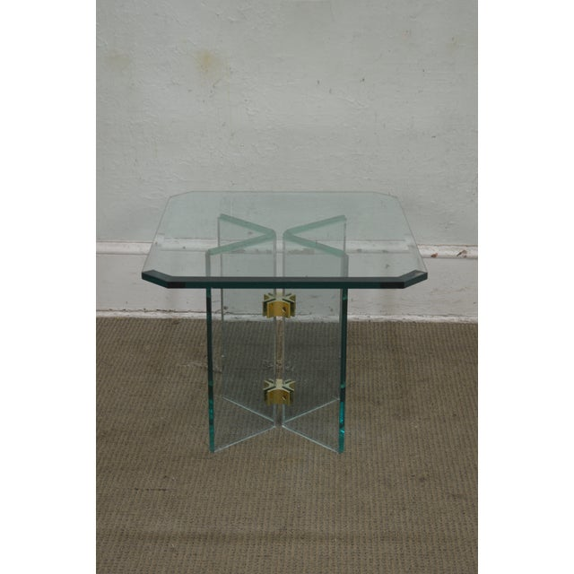 Brass Leon Rosen for Pace Modern Glass Brass Side Table For Sale - Image 7 of 13