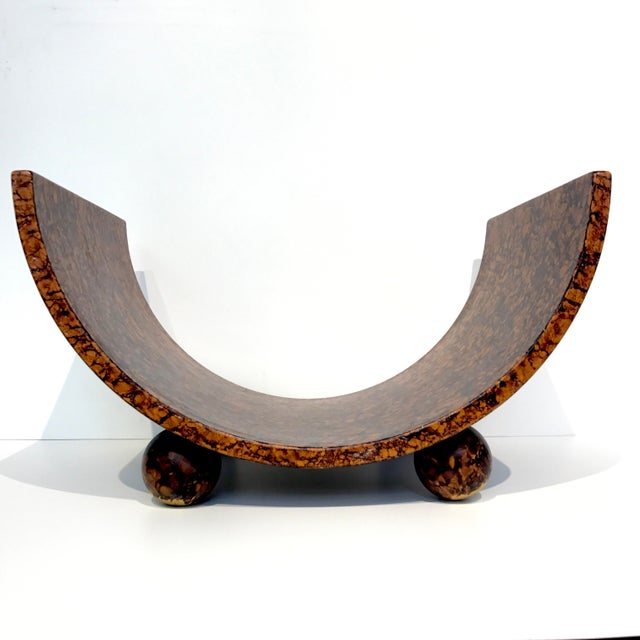 Italian Post Modern Faux Burl Magazine Rack For Sale - Image 3 of 7