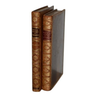 Pair of Early 19th Century Leather-Bound Books W/ Engravings by Rowlandson For Sale