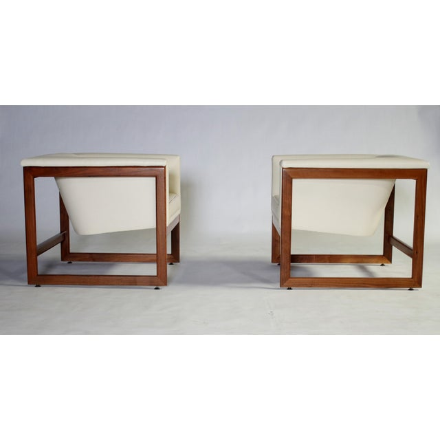 Milo Baughman Milo Baughman Floating Cube Club Chairs For Sale - Image 4 of 10