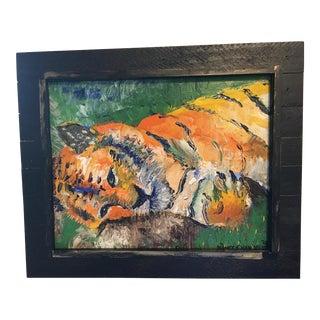 Original Framed Tiger Oil Painting For Sale