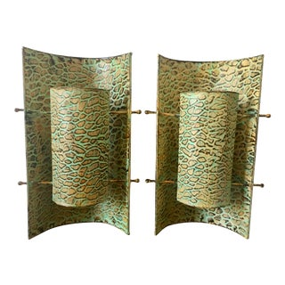 Vintage Art Deco Revival Repousse Leopard Wall Sconces - a Pair For Sale