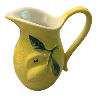 1970s Vintage Majolica Lemon Pitcher For Sale