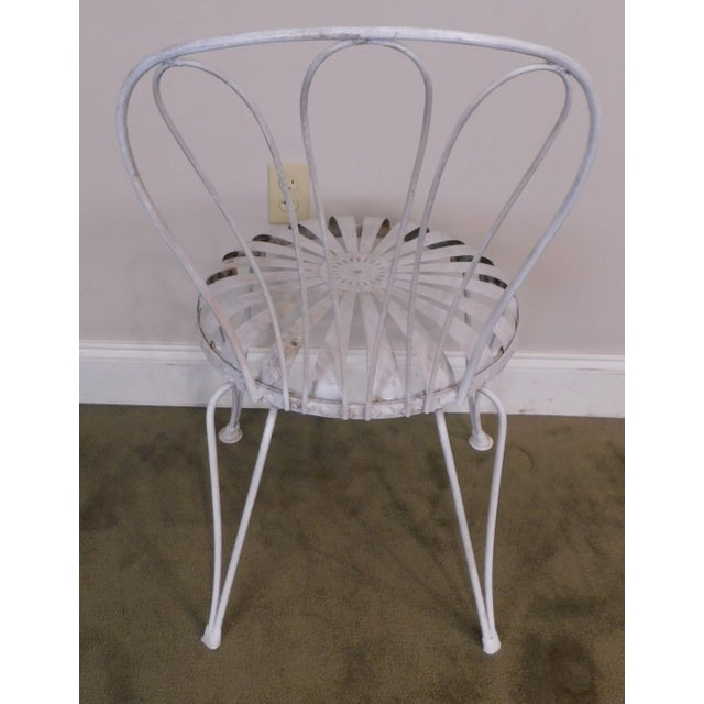 White Vintage Pair Painted Pinwheel Iron Garden Chairs After Francois Carre For Sale - Image 8 of 13