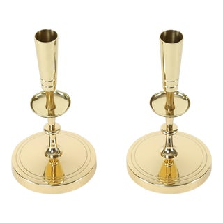 1950's VINTAGE TOMMI PARZINGER BRASS CANDLE HOLDERS- A PAIR For Sale