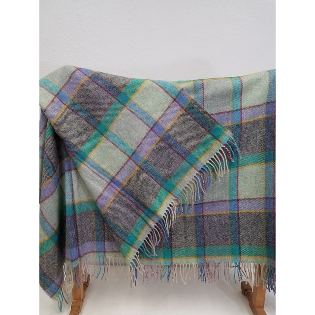Wool Throw Blues, Yellow, Black, Red, Green and Purple in Different Sized Stripes - Made in England For Sale - Image 4 of 11