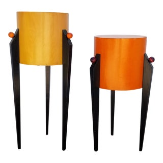 1980s Vintage Post- Modern Memphis Style Pedestals- a Pair For Sale