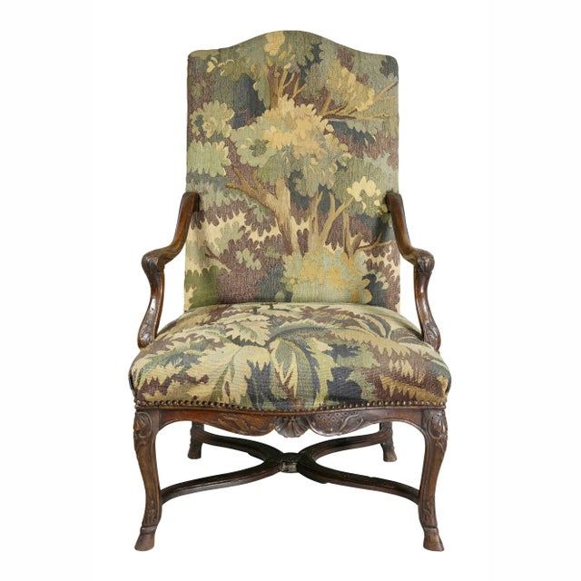 English Regency Walnut and Tapestry Armchair For Sale - Image 3 of 12