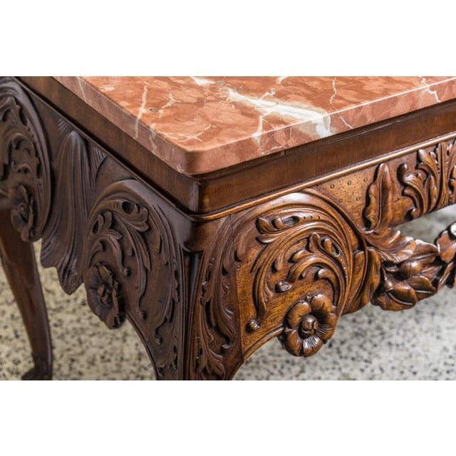 Irish Chippendale Style Oak Table with Marble Top For Sale - Image 4 of 9