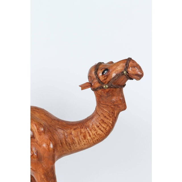 Moroccan Leather Wrapped Camel Sculpture For Sale - Image 4 of 7