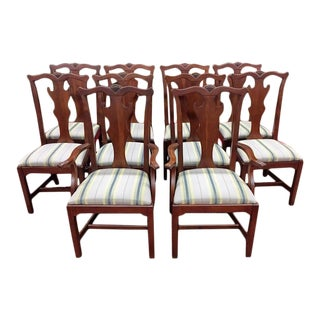 1990s Vintage Lexington Cherry Dining Chairs - Set of 10 For Sale