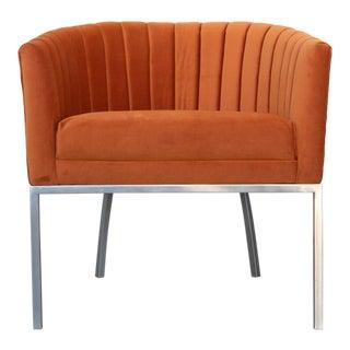 1970's Vintage Burnt Orange Velvet Modernist Club Chair For Sale