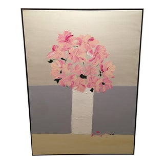 """Abstract """"Peony"""" Original Acrylic Framed Painting For Sale"""