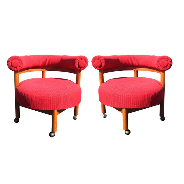 Mid Century Hollywood Regency Barrel Style Chairs - A Pair - Image 6 of 6