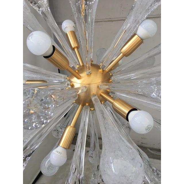 Metal Chandelier Sputnik Brushed Gold Murano Glass For Sale - Image 7 of 11