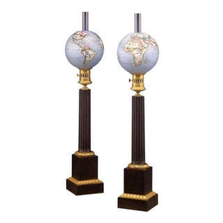 French Opaline Globe Oil Lamps For Sale