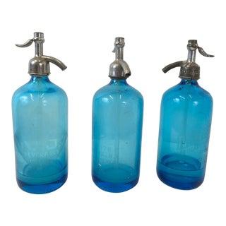 Cobalt Blue Seltzer Bottles - Set of 3 For Sale