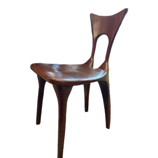 Brown Sculptural Dining Chair For Sale