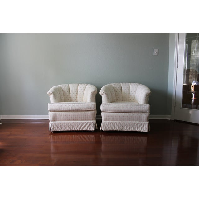 Contemporary Upholstered Tufted Barrel Chairs - A Pair For Sale - Image 3 of 11