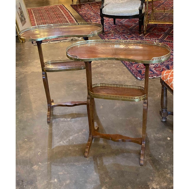 19th Century Mahogany Kidney Shaped Tables With Reticulated Brass Edge - a Pair For Sale - Image 5 of 10