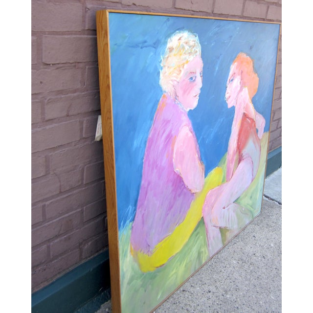 """Contemporary 1970s Vintage Suzanne Peters """"Two Women at the Lake"""" Beach Swimmers Oil on Canvas Painting For Sale - Image 3 of 12"""