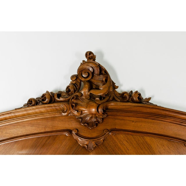 Art Nouveau Late 19th Century French Burl Walnut Bed For Sale - Image 3 of 13