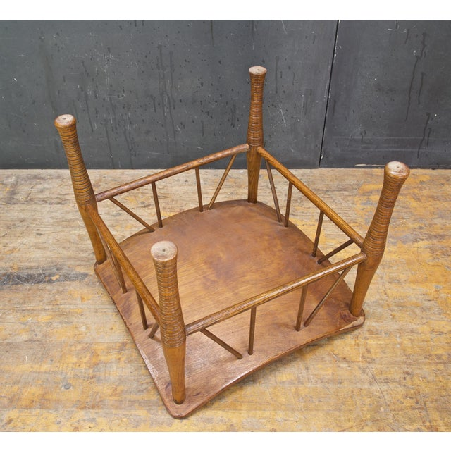 Wood Old Victorian Liberty Thebes Stool Bohemian Egyptian Revival Rustic Cabin Modern For Sale - Image 7 of 8