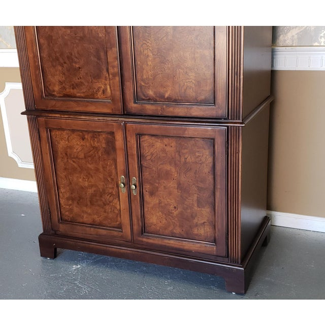 2000 - 2009 Hekman Furniture Burl Walnut Contemporary Entertainment Tv Armoire Cabinet For Sale - Image 5 of 13