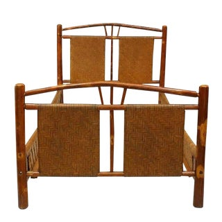 Rustic Old Hickory Bed With Natural Woven Design For Sale