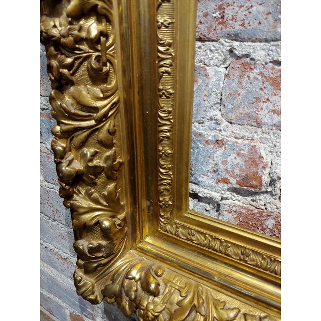 Americana 19th Century -Highly Carved & Ornate Gilt-Wood Frame For Sale - Image 3 of 7