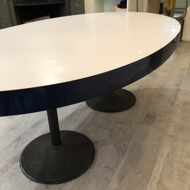 Metal Contemporary ICF Blue & White Oval Table With Metal Base For Sale - Image 7 of 13