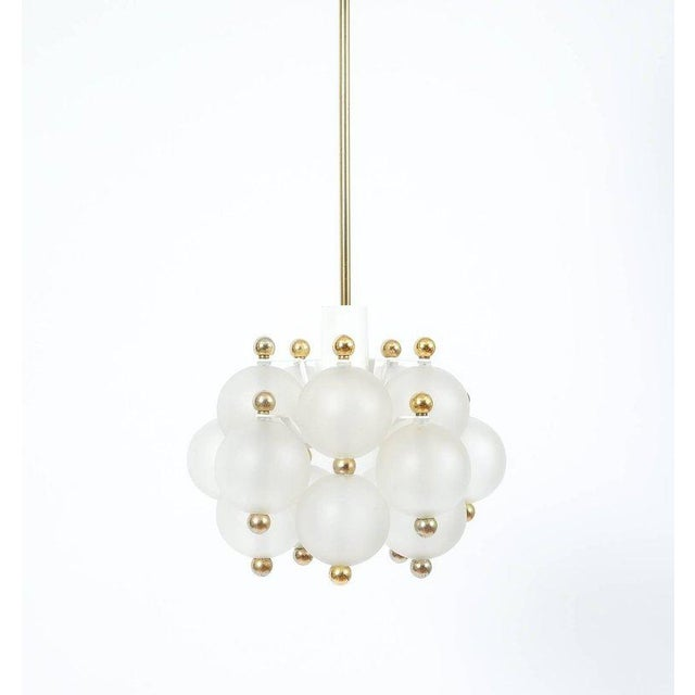 Satin Glass Chandelier Lamp in the Style of Seguso With Gold Knobs, circa 1980 For Sale - Image 9 of 10