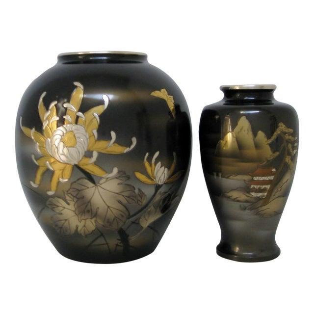 Vintage Meiji Metalwork Vases - A Pair - Image 1 of 11