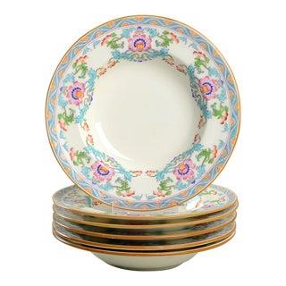Minton Pink & Blue #B833 Rim Soup/Salad Bowls - Set of 6 For Sale