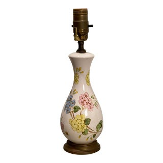 Vintage Floral Table Lamp For Sale