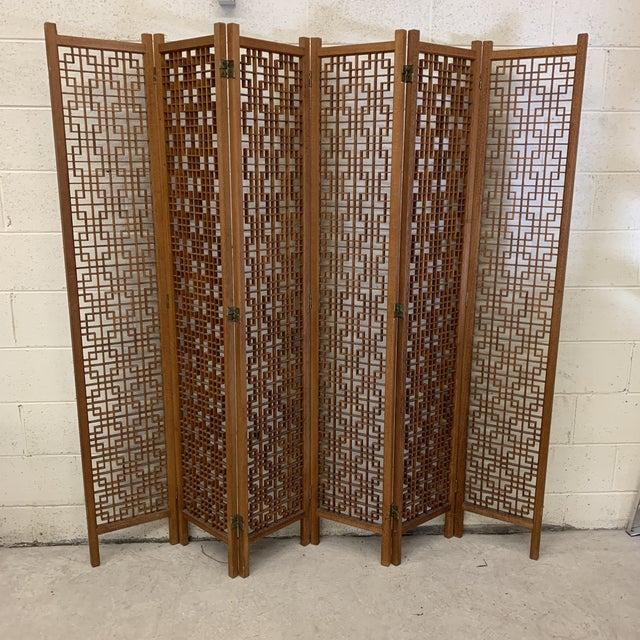 Teak 6-Panel Folding Screen For Sale - Image 13 of 13