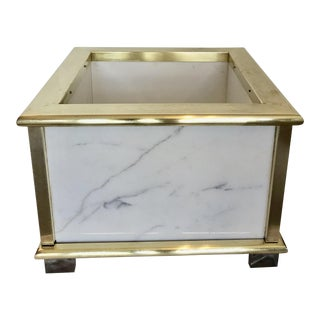 Vintage Marble, Brass & Lucite Planter For Sale