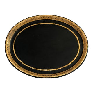 19th Century Painted Black and Gold Tole Metal Tray For Sale